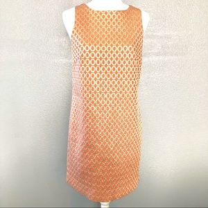 J. Crew Coral and Gold Shift Dress